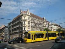 Budapest traffic with modern tram Stock Image
