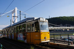 Budapest tram. Tram along the river Danube in Budapest Hungary stock images