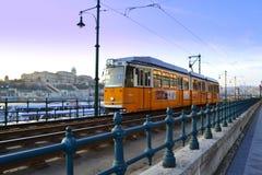 Yellow tram in Budapest Stock Photos