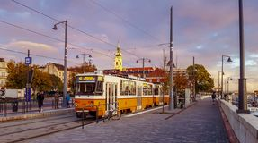 Budapest tram stop at Sunrise royalty free stock photo