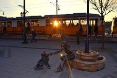 Budapest tram sunset sculpture Stock Photo