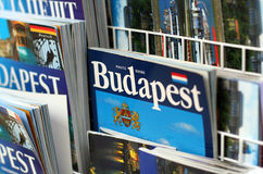 Budapest travel guides. Displayed for sale in a tourism stand stock images