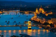 Budapest at twilight stock photos