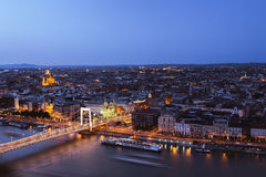 Budapest in Twilight. View on Elisabeth Bridge and Pest shot from Gellért Hill royalty free stock image