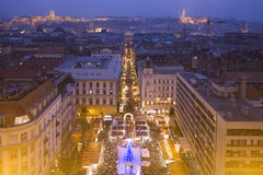 Budapest At Twillight Skyline - Basilica Xmas Fair Stock Image
