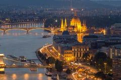 Budapest und der Fluss Donau Lizenzfreie Stockfotos