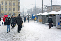 Budapest under snow Royalty Free Stock Photos