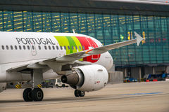 BUDAPEST, UNGARN - 5. März - KLOPFEN Sie Portugal-Flug Lizenzfreie Stockfotos