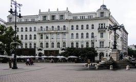 Budapest Ungern Europa vorosmarty ter fotografering för bildbyråer