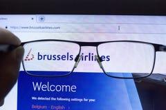 Budapest Ungern 04 28 2019: Illustrativ ledare för Brussels Airlines flygbolagsymbol arkivfoto