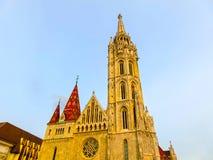 Budapest Ungern - Januari 03 2015: Roman Catholic Matthias Church Arkivbilder