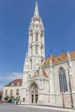 BUDAPEST UNGERN, - JULI 21, 2015: Slottområde med den Matthias kyrkan Arkivfoto