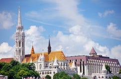Budapest Ungern - Juni, 02, 2018 Historiska byggnader på den Buda kullen, Budapest Arkivfoto