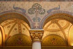 Budapest Ungern - mars 27, 2018: Inre av renoverade Roman Hall i museum av konster royaltyfria foton