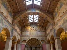 Budapest Ungern - mars 27, 2018: Inre av renoverade Roman Hall i museum av konster royaltyfria bilder