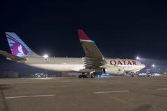 BUDAPEST UNGERN - MARS 5 - QUATAR-flygbuss A330 arkivfoto