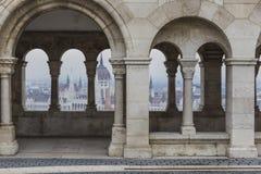 BUDAPEST, UNGHERIA - 10 DICEMBRE 2015: Il Parlamento a Budapest Fotografia Stock Libera da Diritti