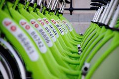 BUDAPEST, UNGHERIA - 12 DICEMBRE 2014: Nuova chiamata di noleggio della bici di Budapest Fotografie Stock Libere da Diritti
