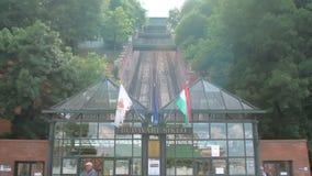 Budapest, Ungheria - MAGGIO 2018: vista frontale della collina del castello di Budapest funicolare nel giorno di estate soleggiat archivi video