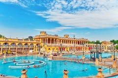 BUDAPEST, UNGHERIA PUÒ 05,2016: Cortile dei bagni di Szechenyi, Hu Immagine Stock Libera da Diritti