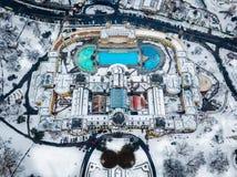 Budapest, Ungheria - vista aerea del bagno termico famoso di Szechenyi da sopra fotografia stock libera da diritti