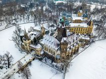 Budapest, Ungheria - vista aerea di bei castello di Vajdahunyad e museo di agricoltura ungherese Immagini Stock Libere da Diritti