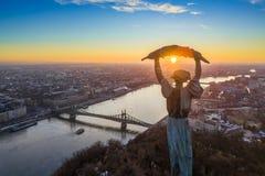 Budapest, Ungheria - vista panoramica aerea di alba alla statua della libertà con Liberty Bridge Fotografie Stock
