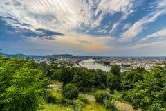 Budapest uppifrån Arkivfoto