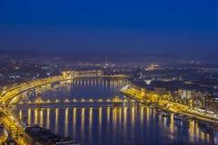 Budapest vid natt Arkivbild
