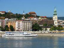 Budapest view. With the Daube and various churches royalty free stock image