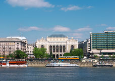 Budapest view. With historic and modern buildings on the bank of the Danube river Royalty Free Stock Images