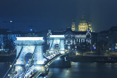 Budapest View On The Chain Bridge royalty free stock photography