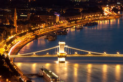 Budapest view, Chainbridge. Photographed from the Gellert-hill stock image