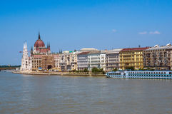 In Budapest. View of Budapest and Danube river on a bright summer day (with copy space Stock Image