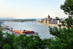 Budapest, view of Danube river and Parliament Royalty Free Stock Photos