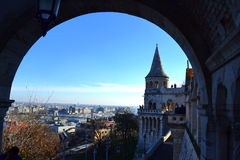Budapest view through Fisherman Bastion arch. Picturesque Fisherman's Bastion staircase, Budapest, Hungary Royalty Free Stock Images