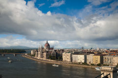 Budapest view from Gellert hill, Hungary. Budapest view over Dunai river from Gellert hill, Hungary Royalty Free Stock Photography
