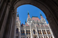 In Budapest. View of an old building through an arc Stock Photography