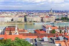 Budapest. View over the Danube and the and St. Stephen`s Basilic Royalty Free Stock Photography