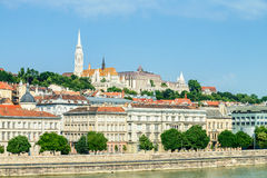 Budapest, view over Pest across the river towards Fishermans Bas Royalty Free Stock Photo