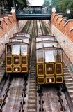 08/11/2018 Budapest, Węgry Buda kasztelu wzgórza funicular tramwaj zdjęcie royalty free