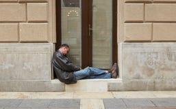 Budapest Węgry, Kwiecień, - 17, 2018: miejsce dokąd bezdomny żyje zdjęcia stock