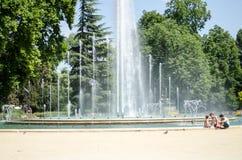 BUDAPEST, WĘGRY, LIPIEC 30, 2015: Śpiewacka fontanna Obraz Stock