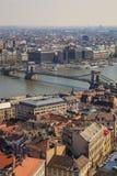 Budapest, Węgry, Marzec 22 2018: Szechenyi Przykuwa most piękni mosty Budapest, Węgry fotografia stock