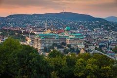 Budapest, Węgry - Panoramiczny linia horyzontu widok sławny Buda kasztel Royal Palace Zdjęcie Royalty Free