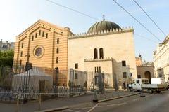 Budapest Węgry, Sierpień, - 30, 2018: Dohany synagogi Tabakgasse Uliczna synagoga w Budapest, Węgry zdjęcia royalty free