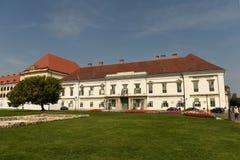 Budapest Węgry, Sierpień, - 30, 2018: SÃ ¡ ndor pałac Sandor-palota jest oficjalną rezydencją prezydent Węgry, i zdjęcie stock