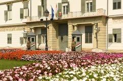 Budapest Węgry, Sierpień, - 30, 2018: SÃ ¡ ndor pałac Sandor-palota jest oficjalną rezydencją prezydent Węgry, i zdjęcia royalty free