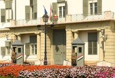 Budapest Węgry, Sierpień, - 30, 2018: SÃ ¡ ndor pałac Sandor-palota jest oficjalną rezydencją prezydent Węgry, i obrazy royalty free