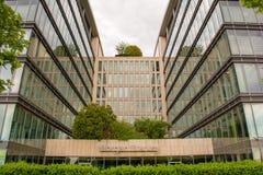 BUDAPEST WĘGRY, MAJ, - 17, 2018: Morgan Stanley znak na fasadzie budynek biurowy Morgan Stanley jest amerykaninem Zdjęcia Royalty Free